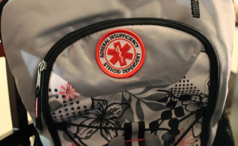 """A patch on her Alexis Shapiro's backpack alerts school staff she is at risk for an """"adrenal crisis."""""""