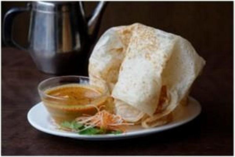 Chef Christina Arokiasamy's Roti Canai breakfast.