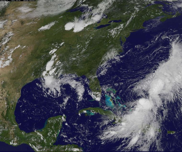 Image: This Aug. 25 NASA GOES satellite image shows Tropical Storm Cristobal near the Bahamas