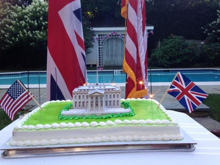 "Image: A photo tweeted by the British Embassy Sunday ""commemorating"" the 200th anniversary of burning down the White House during the War of 1812."