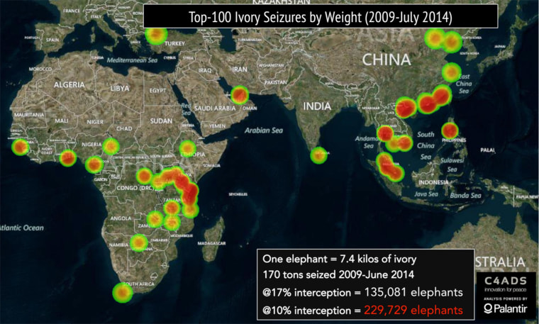 Image: A heat map showing locations of major ivory seizures from 2009-2014