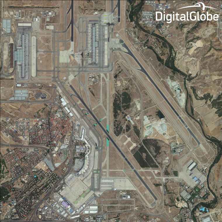 Image: A wide view of a section of Madrid captured by a new DigitalGlobe satellite, WorldView-3.