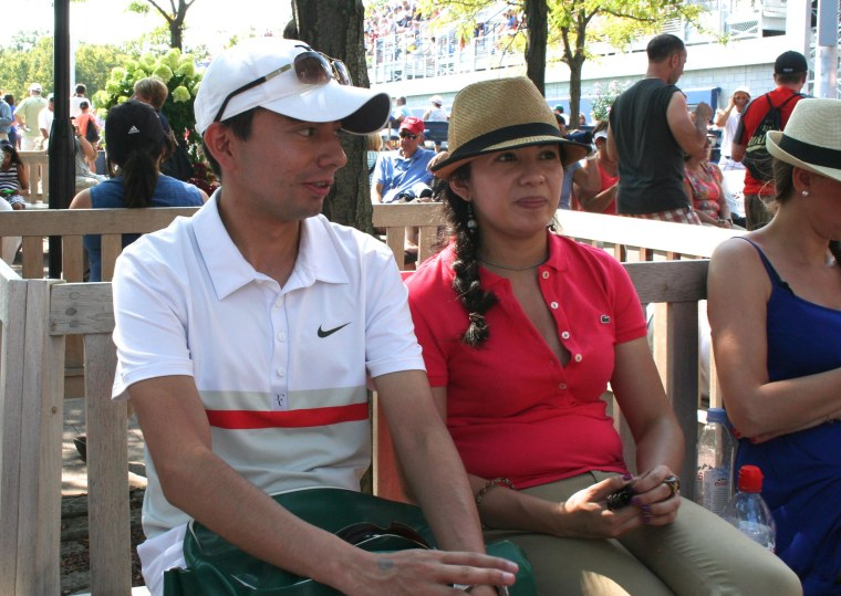 Tennis fans Diana Calderon, 30 and Diego Calderon, 25, attending the U.S. Open on August 26, 2015.  They are visiting from Colombia.