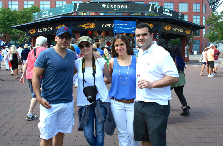 Victor Mazo, Paula Zorraquin, Matilde Gonzalez and Martin Estigarribia, tourists from Paraguay, at the U.S. Open in Flushing Meadows, Queens, NY, on August 26, 2014.