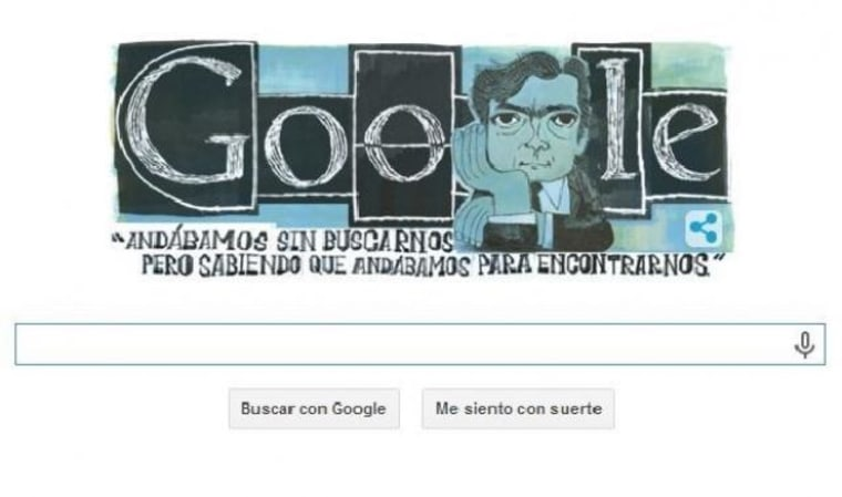 """A Google """"Doodle"""" of the late Argentinian author Julio Cortazar, who would have turned 100 on August 26, 2014."""