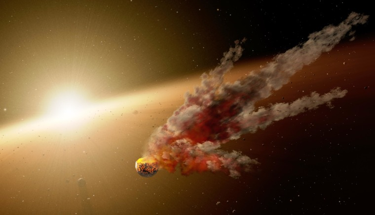 This artist's conception shows the immediate aftermath of a large asteroid impact around NGC 2547-ID8, a 35 million-year-old sunlike star. NASA's Spitzer Space Telescope witnessed a giant surge in dust around the star, which was probably the result of two asteroids colliding.