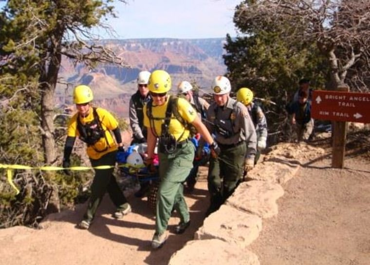 Image: Rescuers at Grand Canyon National Park use a wheeled litter to evacuate an injured hiker from the Bright Angel Trail.
