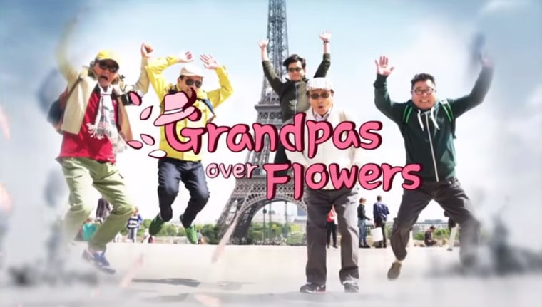 """A screen grab from the trailer for the South Korean reality show """"Grandpas Over Flowers,"""" reportedly being remade for an American audience."""