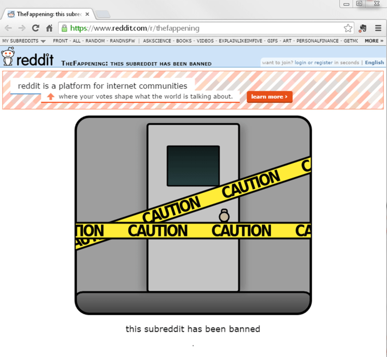 Image: TheFappening subreddit was banned after many of the nude celebrity photos were posted there.