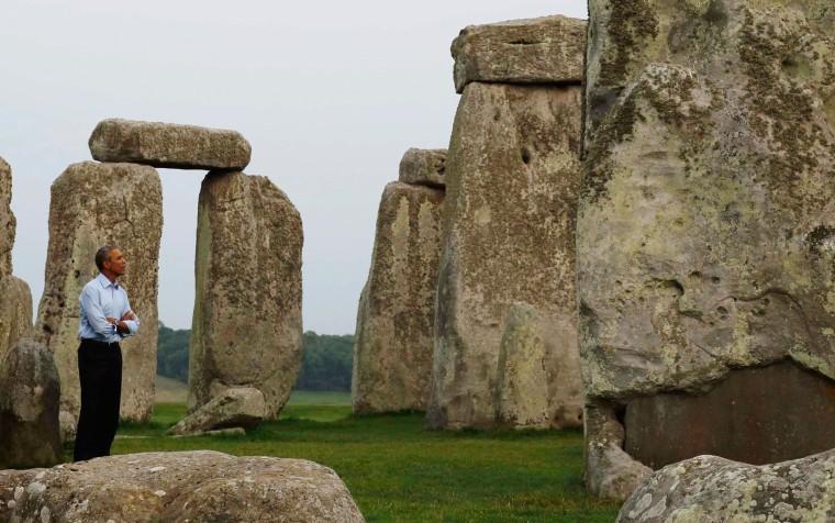 Image: U.S. President Obama visits Stonehenge Monument in Wiltshire