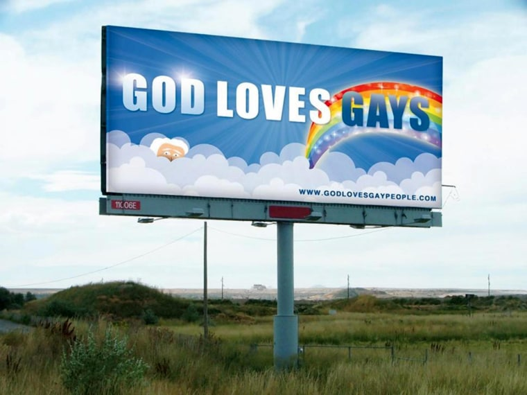 A billboard with the message 'God Loves Gays' was unveiled in Topeka, Kan., on Monday