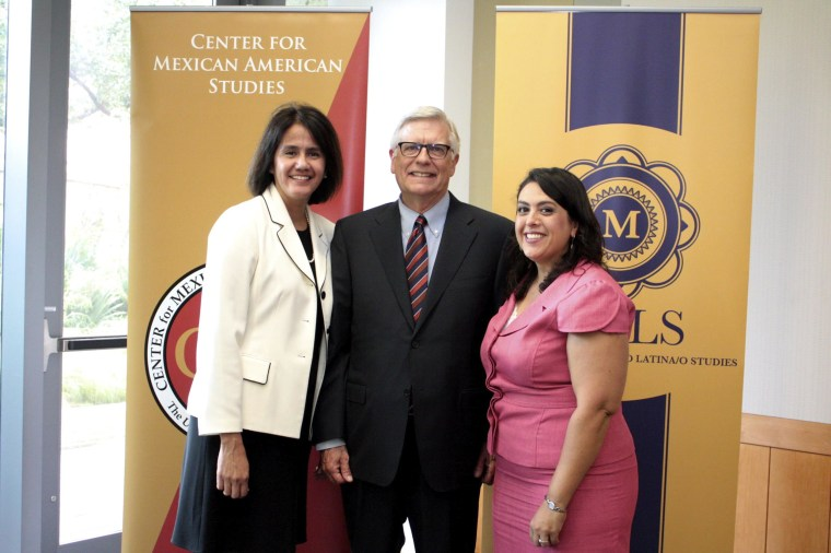 Domino Perez, director of Center for Mexican American Studies; Randy Diehl, Dean, College of Liberal Arts, and Nicole Guidotti-Hernandez, chair, department of Mexican American and Latina/o Studies.