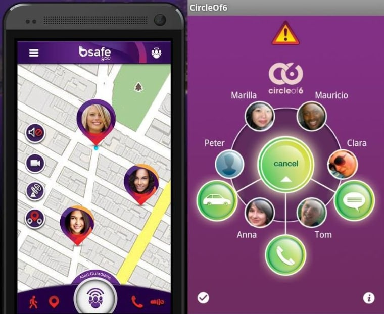 bSafe and Circle of 6 let you keep in touch with a close few friends and watch out for each other.