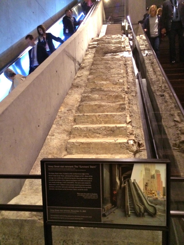 """The """"Survivors Stairs"""" display at the National 9/11 Museum and Memorial Exhibition.  Mulero led the exhibition's design team."""