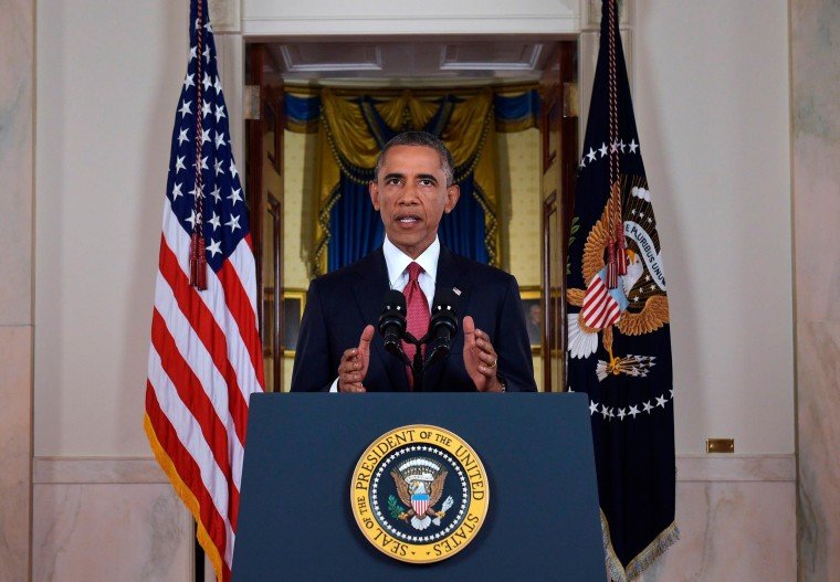 Image: U.S. President Obama delivers a live televised address to the nation on his plans for military action against the Islamic State, from the Cross Hall of the White House in Washington