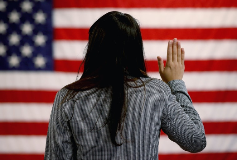 Image: BESTPIX Immigrants Become Naturalized US Citizens At Ceremony In New Jersey