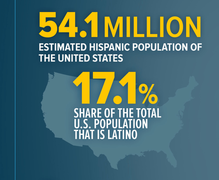 """Image: An infographic titled """"Hispanics by the numbers"""""""
