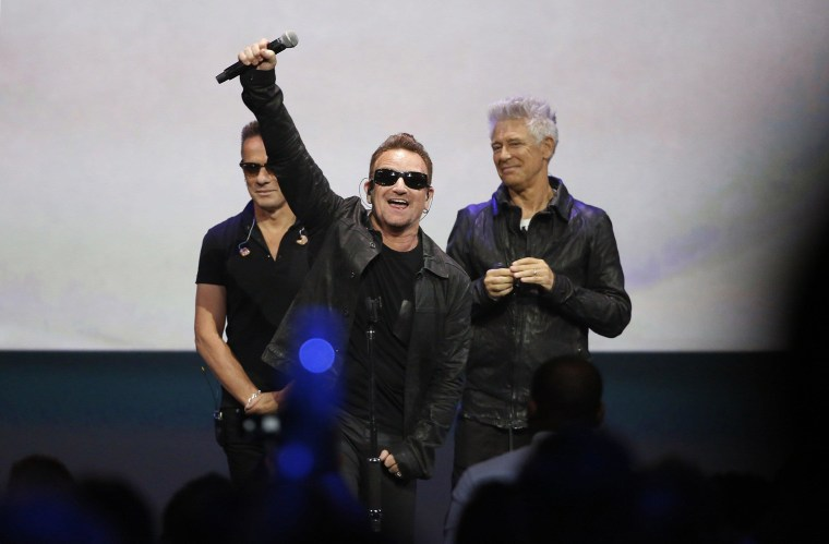 Image: Bono of Irish rock band U2 at an Apple event