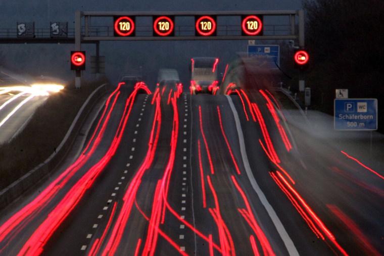 Image: Germany's Autobahn A 5 near Frankfurt on Dec. 12, 2006