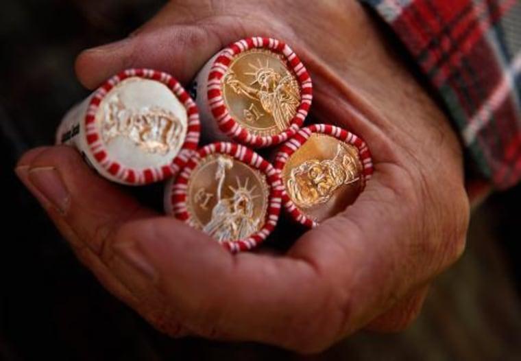 A handful of money.