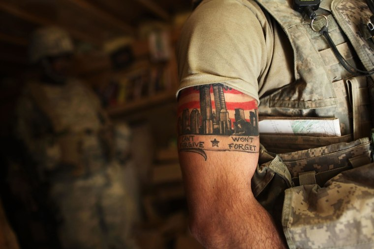 Image: A US Army Able Company soldier with a 9/11 tattoo.