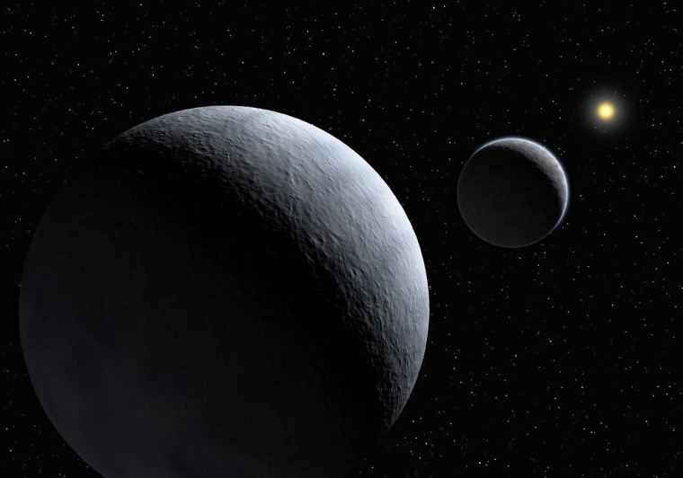 An artist's conception shows Pluto and its largest moon, Charon, with the sun in the far background.