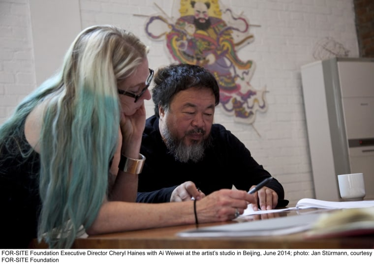 FOR-SITE Foundation Executive Director Cheryl Haines with Ai Weiwei at the artist's studio in Beijing, June 2014