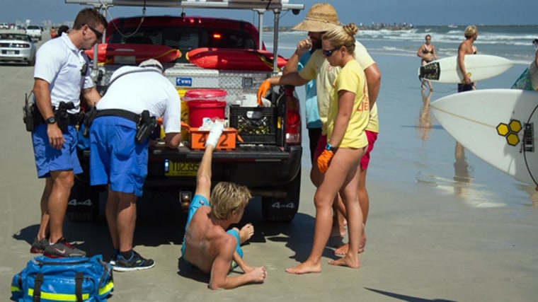 Image: A surfer was bitten on the foot by a shark at New Smyrna Beach on Sunday in Florida.