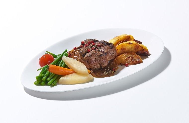 Image: Beef filet steak and caramelized onion sauce, one of the meals on offer to fans of Lufthansa's in-flight food.