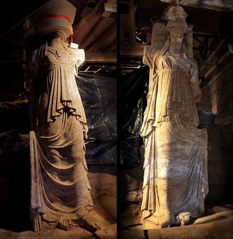 Two pictures from the Greek Culture Ministry show the full length of the 7.45-foot-tall (2.27-meter-tall) caryatid statues guarding a massive burial complex in Amphipolis in northern Greece. The head of the left caryatid is swathed in protective foam. When the tomb was built, about 2,300 years ago, the statues extended their arms toward the center of a passageway to block would-be intruders.
