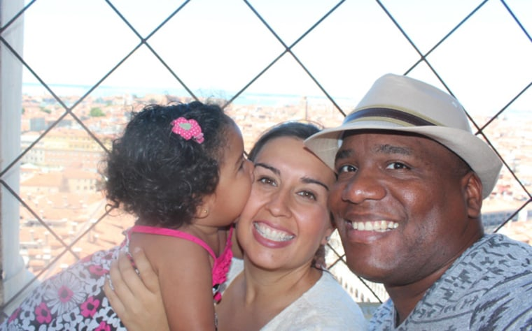 """Sociology professor G. Cristina Mora with her family.  Mora is the author of """"Making Hispanics: How Activists, Bureaucrats and Media Constructed A New American."""""""
