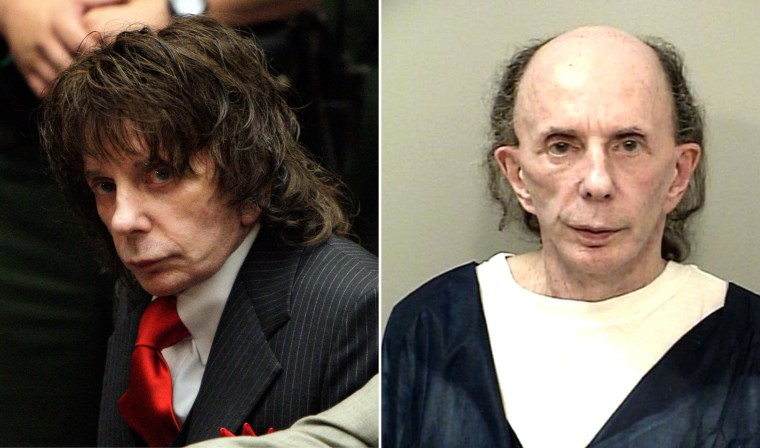 Left: Phil Spector at his sentencing in Los Angeles Criminal Courts, May 29, 2009. Right: Spector at the California Health Care Facility in Stockton, Calif., Oct. 28, 2013.