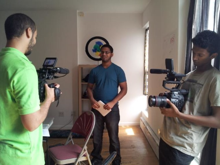 Ahmed, Riyaz and Hatim test out camera equipment on Day 3 of classes at the NYC Muslim Youth Voices training. (August 2014)