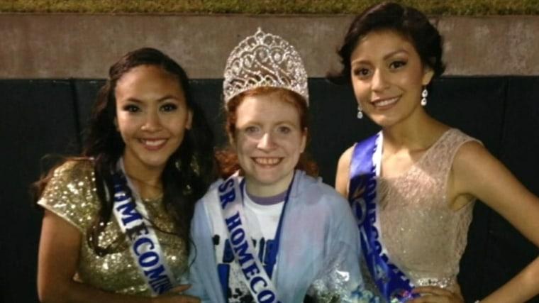 Image: Anahi Alvarez gave Lillian Skinner, center, the homecoming queen crown.