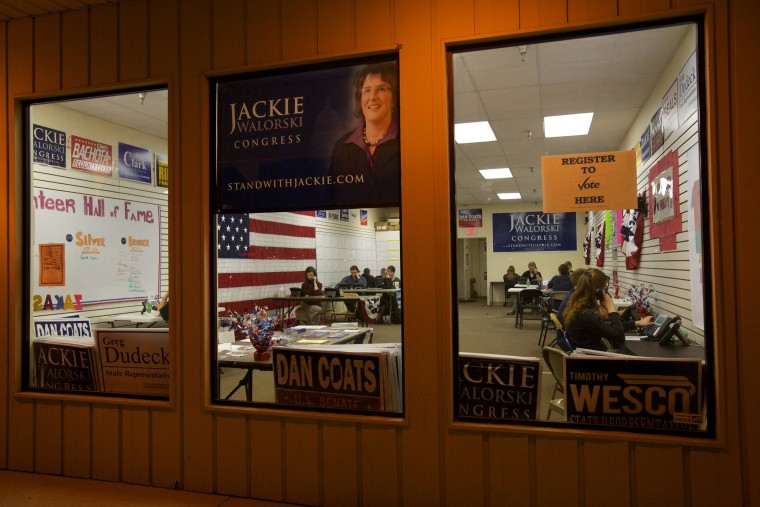 Image: Volunteers working the phones at a campaign office
