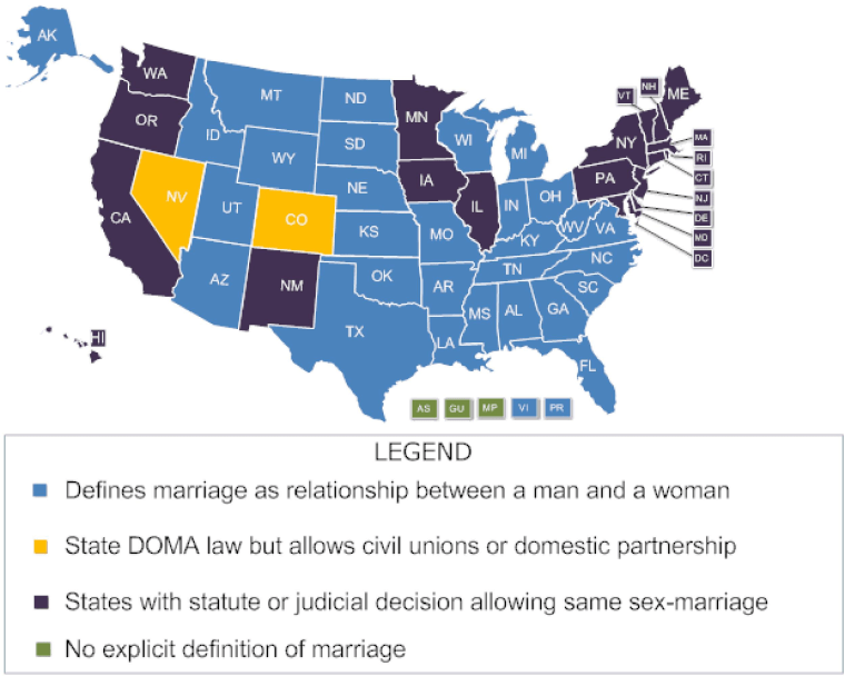 Map of Gay Marriage States