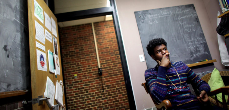 Image:  David Weathers, a 17-year-old freshman at Williams College in Williamstown, MA, walks around campus