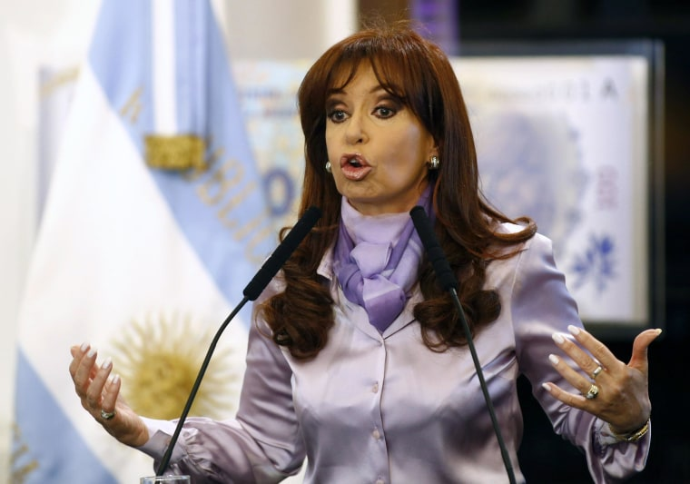 Image: Argentina's President Cristina Fernandez de Kirchner speaks during a ceremony at the Casa Rosada Presidential Palace in  Buenos Aires
