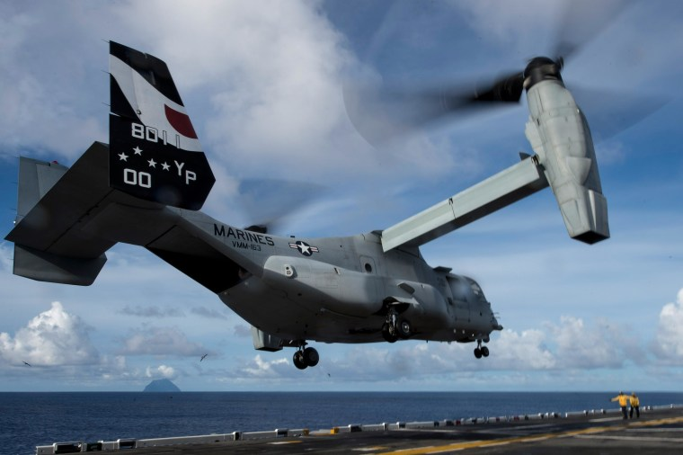 Image: An MV-22 Osprey attached to Marine Medium Tiltrotor Squadron (VMM) 163 (Reinforced) launches from the flight deck of amphibious assault ship USS Makin Island