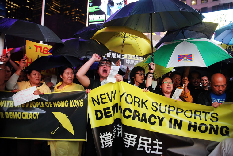 Image: Rally Held In NYC's Times Square In Support Of Hong Kong Democracy Activists