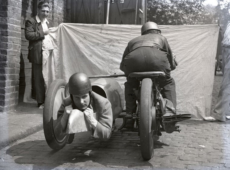 Rear-facing seat on motorcyle side-car at Brooklands