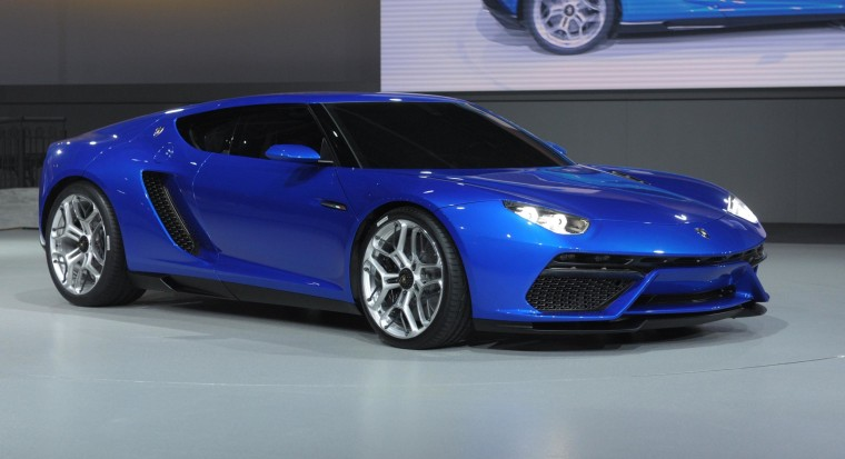 A Lamborghini Asterion is presented at the Volkswagen Group Night show in Paris.