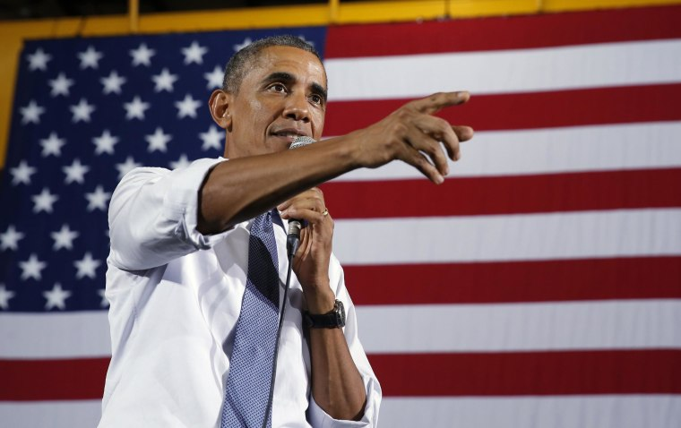 Image: Obama visits a steel factory  and speaks about jobs in Indiana