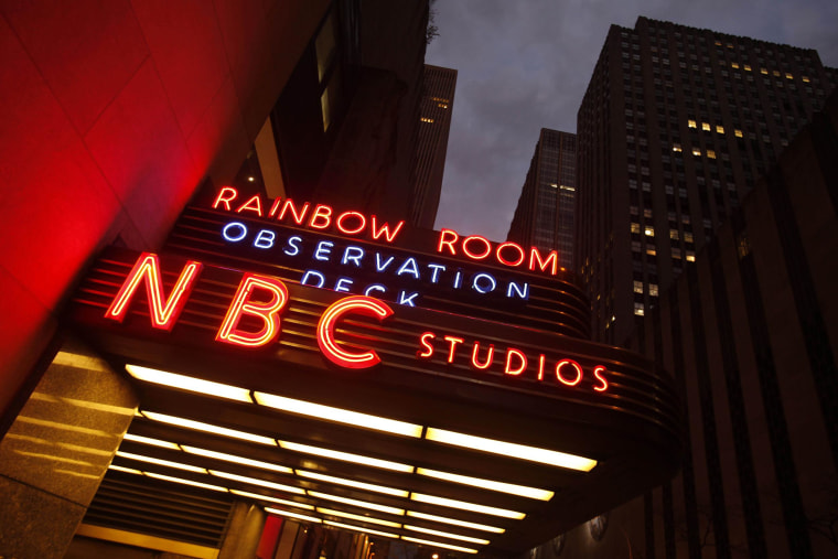 Image: A marquee advertises the Rainbow Room, the Observation Deck, and NBC Studios at the GE building in New York, on Nov. 17, 2009.
