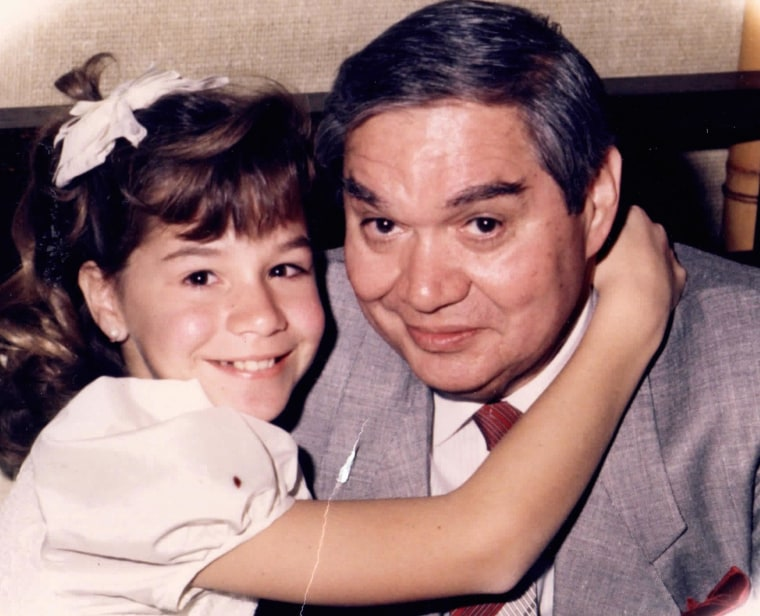 A childhood photo of Christy Vega and her father, Ray Vega.