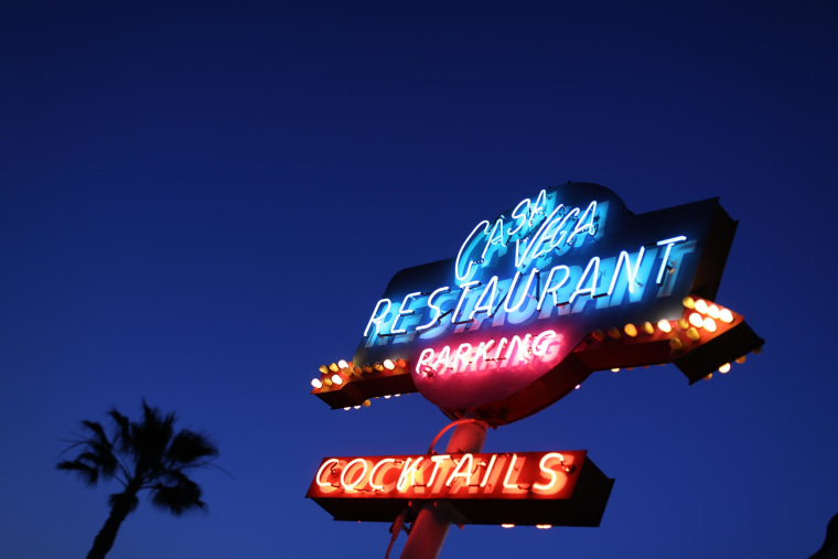 "The sign outside Casa Vega restaurant, known since the mid 1950s as a hangout for glamorous Hollywood ""royalty"" such as the Marlon Brando, Cary Grant and Jane Fonda. Decades later it is still a popular and successful destination."