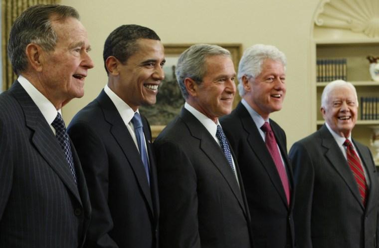 Image: George W. Bush, Barack Obama, Bill Clinton, Jimmy Carter, George H.W. Bush
