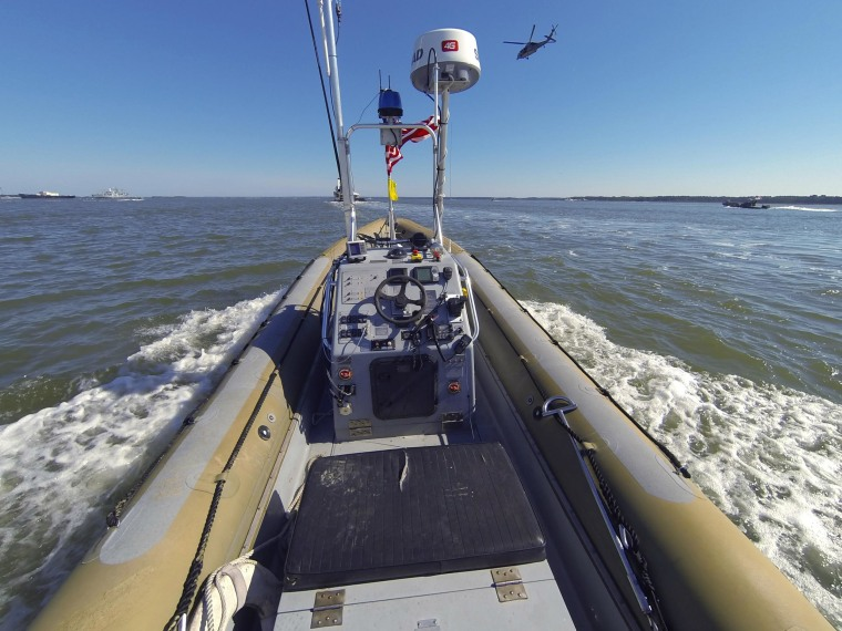 An unmanned seven meter rigid hulled inflatable boat operates autonomously during an Office of Naval Research demonstration of swarmboat technology held on the James River in Newport News, Va., on Aug. 12, 2014. During the demonstration as many as 13 Navy boats, using an ONR-sponsored system operated autonomously or by remote control during escort, intercept and engage scenarios.