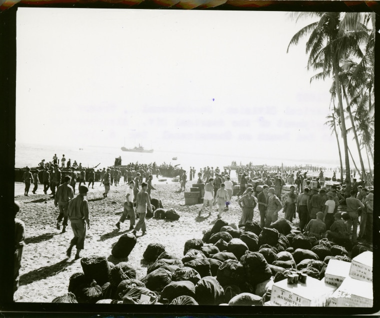 Image: Fresh Army infantry troops from the Americal Division land on Guadalcanal in 1942.