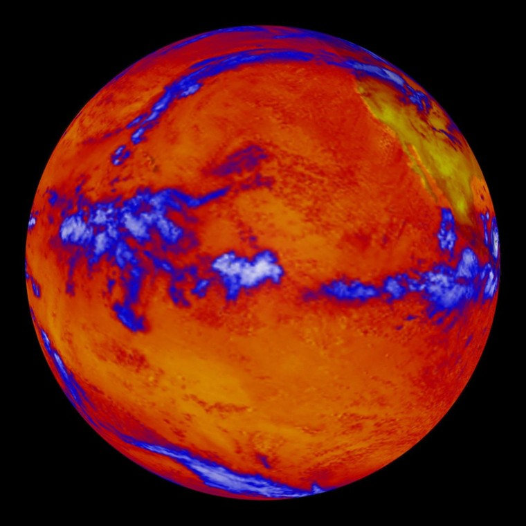 While the upper part of the world's oceans continue to absorb heat from global warming, ocean depths have not warmed measurably in the last decade, according to a new NASA study. This image shows heat radiating from the Pacific Ocean as imaged by the NASA's Clouds and the Earth's Radiant Energy System instrument on the Terra satellite. (Blue regions indicate thick cloud cover.)